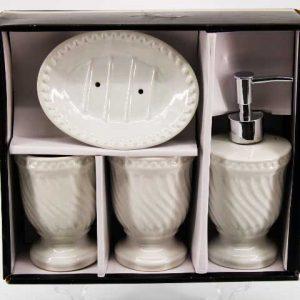 Комплект за баня от 4 части в свежо бяло