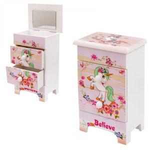 """Кутия за бижута с  две чекмеджета и огледало """" Цветя""""/28035/"""