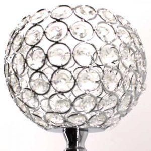 Сребрист свещник със стъклени камъчета