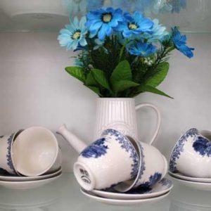 Комплект Кафе в бяло и синьо