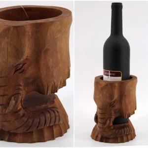 Поставка за бутилка-Дървен слон