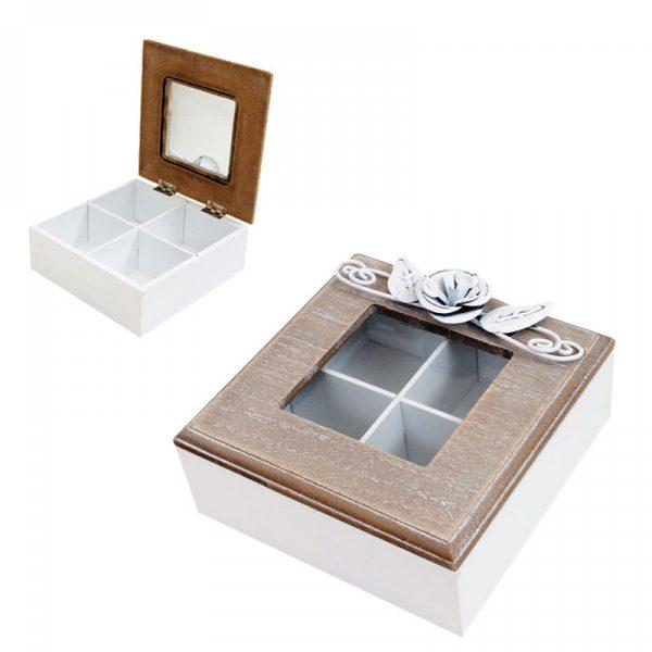 """Кутия за чай с метални орнаменти """"Цвете"""""""