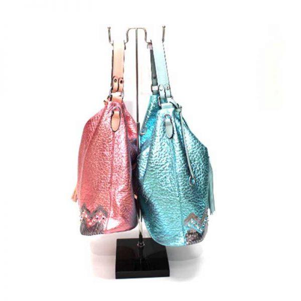Дамска чанта с пискюл тип торба 1009