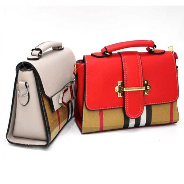 Малка дамска чанта с капак и дълга дръжка