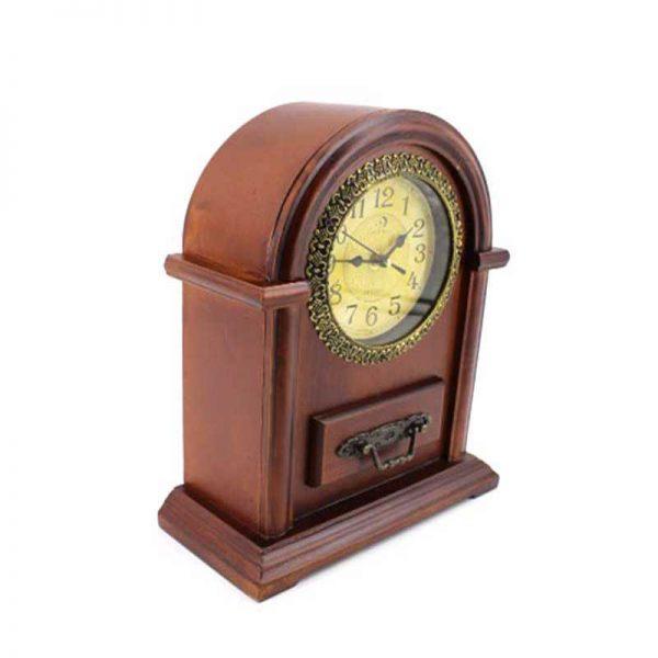 Настолен дървен часовник с чекмедже