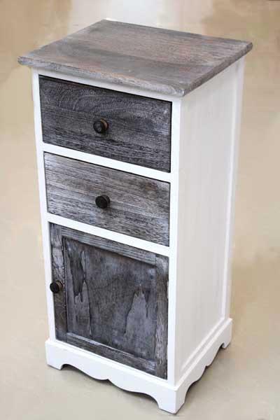 Шкаф в бяло и тъмно сиво с 2 чекмеджета