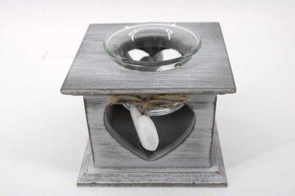 Декоративен  свещник с дървено сърце /Сив/