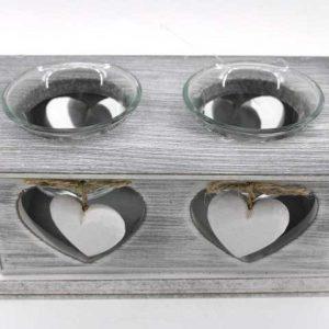 Декоративен  свещник с две сърца