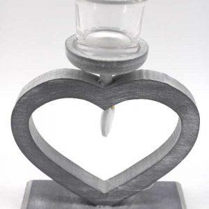 """Декоративен дървен свещник """"Сърце"""""""