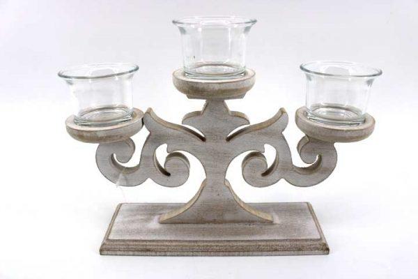 Декоративен дървен свещник - тройка