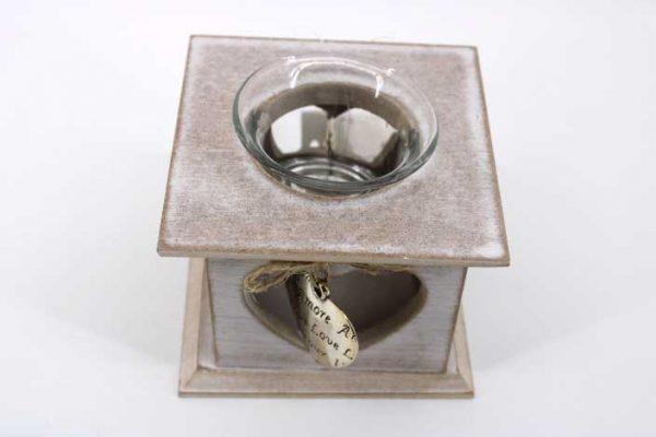 Декоративен  свещник с метално сърце