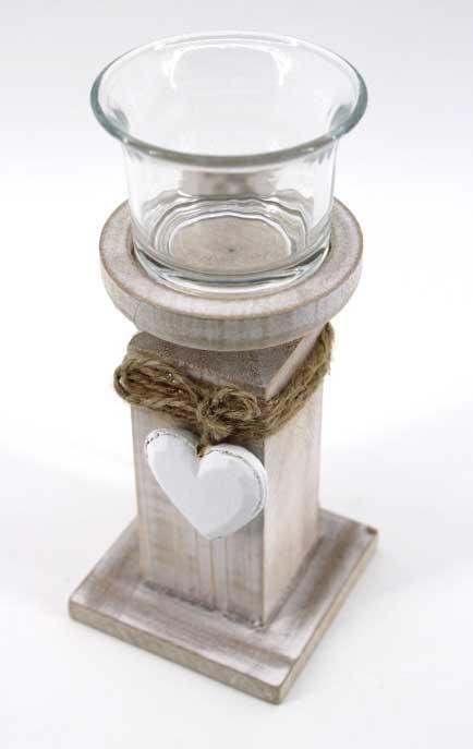 Декоративен дървен свещник - висок
