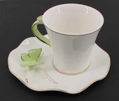 Комплект за кафе с 3D пеперуди (зелени)