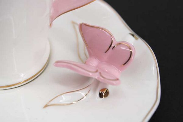 Комплект за кафе с 3D пеперуди (розови)