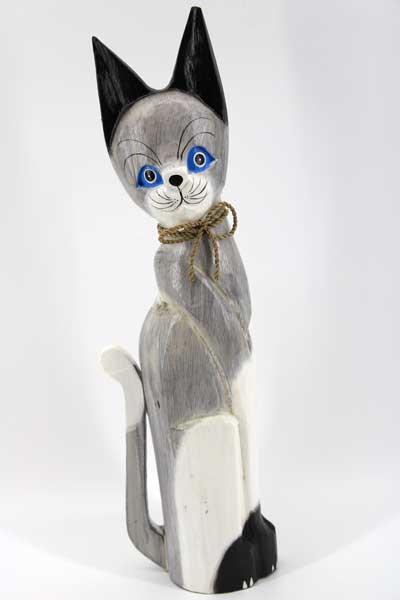 Дървена котка - 50 см /бяло и сиво/