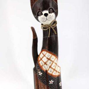 Дървена котка - 50 см /тъмно кафява/