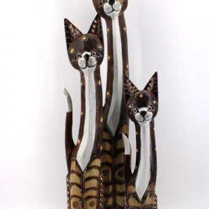 Дървена котка - 50 см / с точки /