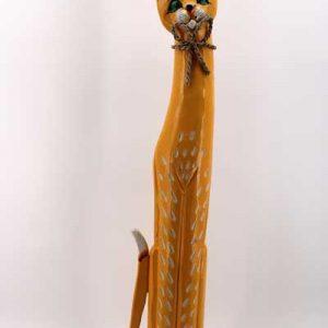 Дървена котка - 80 см. / кафява /