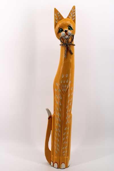 Дървена котка - оранжева