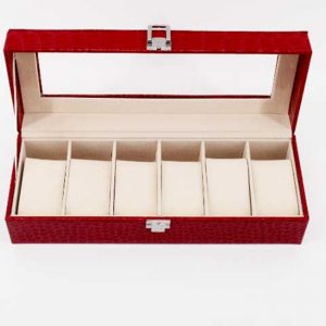 Луксозна кутия за часовници - червено