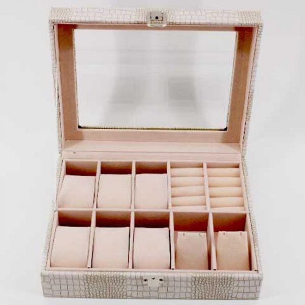 Луксозна кутия за часовници и аксесоари - бяла