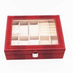Луксозна кутия за часовници и аксесоари - червено