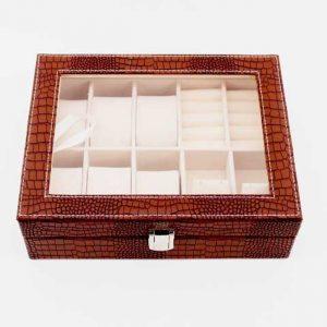 Луксозна кутия за часовници и аксесоари - кафяво