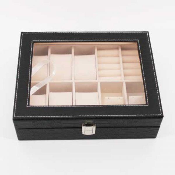 Луксозна кутия за часовници и аксесоари - черно