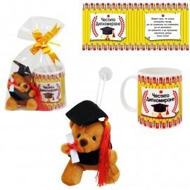 Подаръчен комплект за дипломиране /Чаша и мече в кафяво/