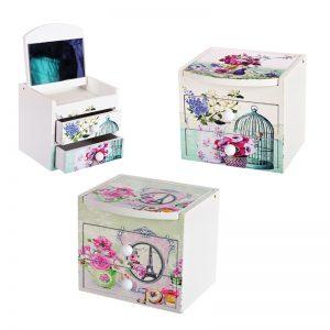 """Кутия за бижута с  две чекмеджета и огледало """" Цветя""""""""/28072/"""