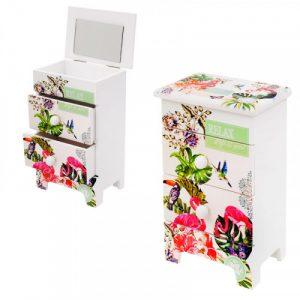 """Кутия за бижута с  две чекмеджета и огледало """" Цветя""""/28074/"""