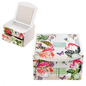 """Кутия за бижута с  две чекмеджета и огледало """" Цветя и фламинго""""/28078/"""