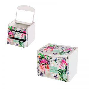 """Кутия за бижута с  две чекмеджета и огледало """" Цветя и фламинго""""/28080/"""
