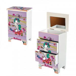 """Кутия за бижута с  две чекмеджета и огледало """" Еднорог""""/28076/"""
