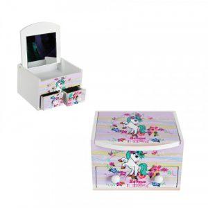 """Кутия за бижута с  две чекмеджета и огледало """" Еднорог""""/28082/"""